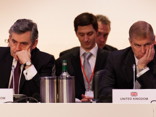 Prince Andrew (right) having a blast at an oil producers conference. Photo: Oli Scarff/Getty Images