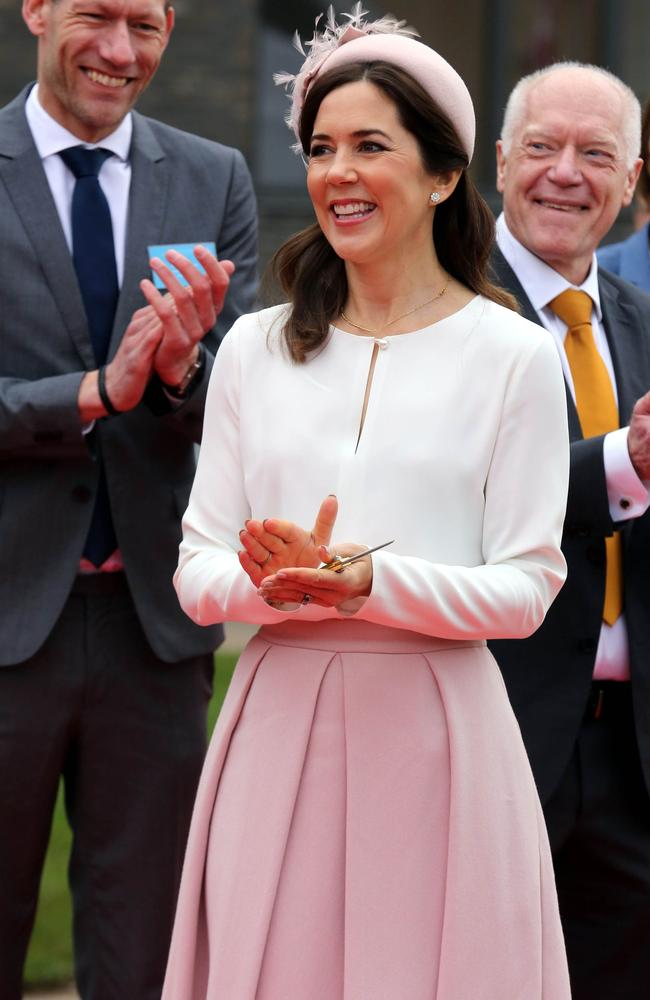 Princess Mary and the outfit from Danish label Elise Gug. Picture: AFP