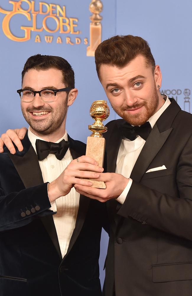 Winner ... Singer Sam Smith (R) and producer/songwriter Jimmy Napes at the Golden Globe Awards. Picture: Getty