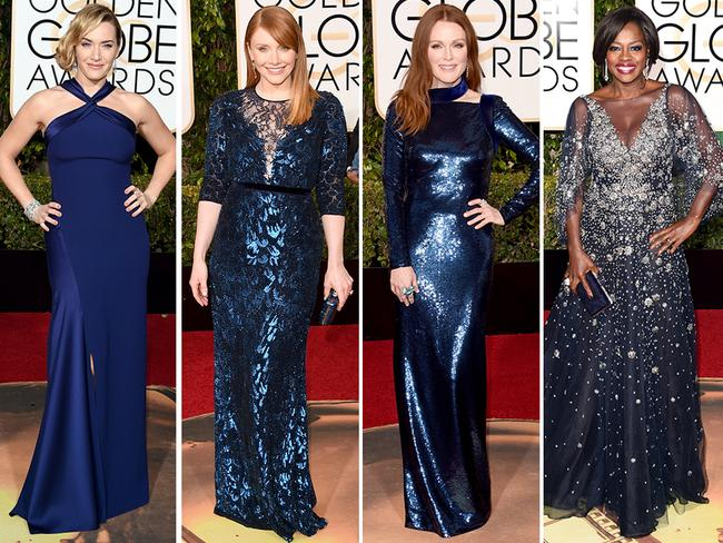 Royal blue ... Kate Winslet, Bryce Dallas Howard, Julianne Moore and Viola Davis. Picture: Getty