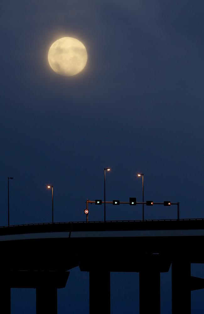 Super moon over the Tasman Bridge in Hobart.