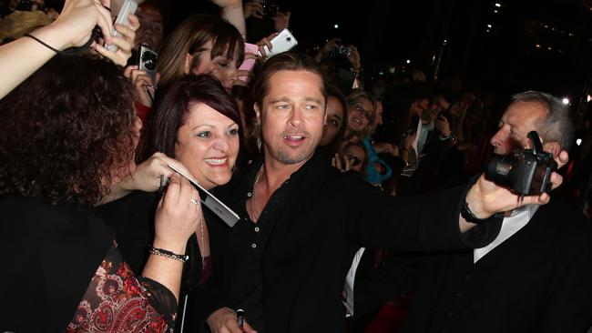 Brad Pitt arrives on the red carpet for the Australian Premiere of World War Z at The Star in Sydney.