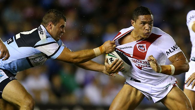 Tyson Frizell tackled by Wade Graham. Picture: Evans Mark