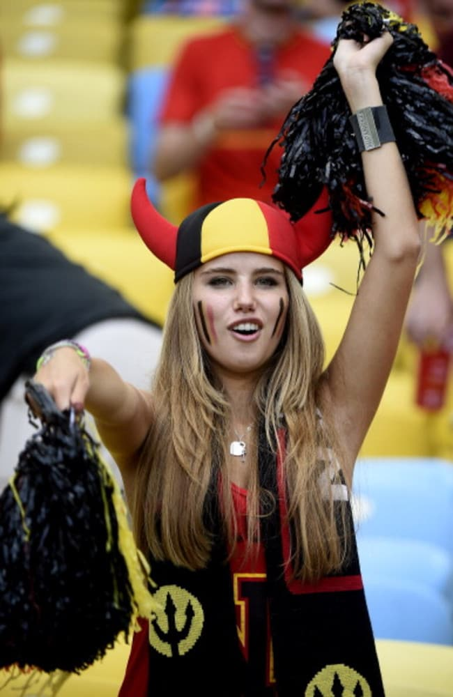 Internet sensation ... Axelle Despiegelaere was photographed ahead of the World Cup match between Belgium and Russia.