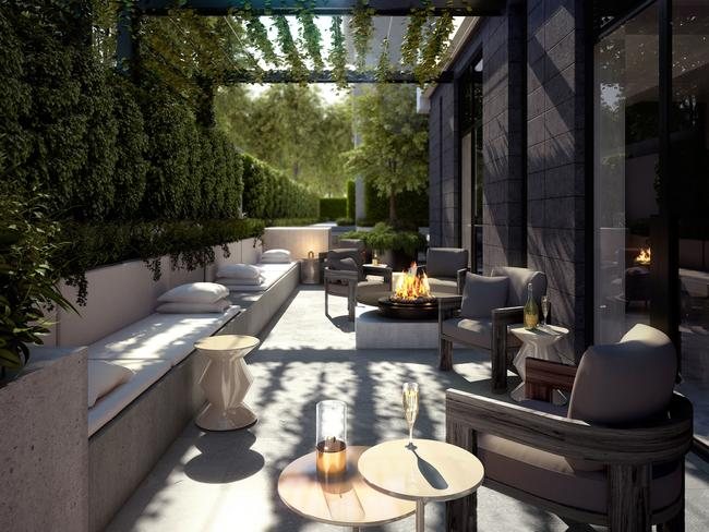 The fancy outdoor terrace at the Charsfield development in Melbourne.