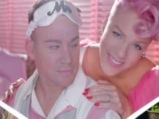 Channing Tatum and P!nk in the video clip for 'Beautiful Trauma'. Photo: Vevo