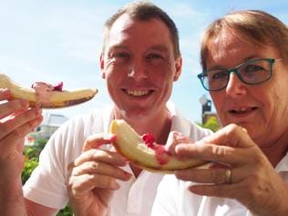 Cr Ben Heath and Feast of the Senses manager Kirsty Densmore are calling on people to join a banana split world record attempt.