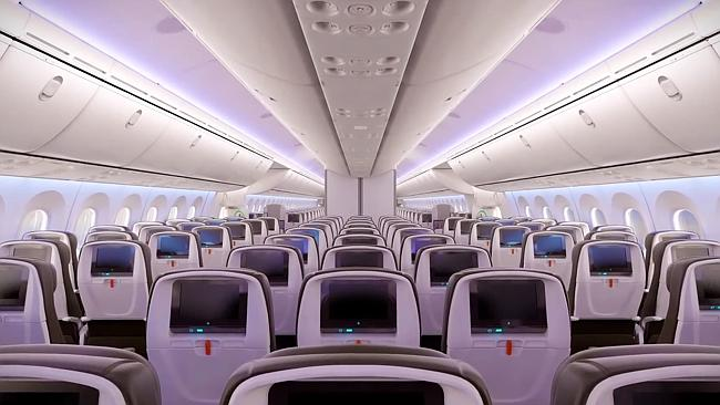 A sneak preview of the economy class cabin on Jetstar's new Boeing 787 Dreamliner. Picture: Supplied.