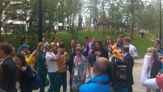 The Duchess of Cambridge and Prince Harry visit the Olympic Village. Picture: Kieran Govers/Twitter