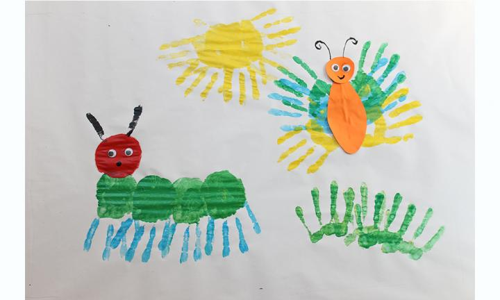 very hungry caterpillar handprint art