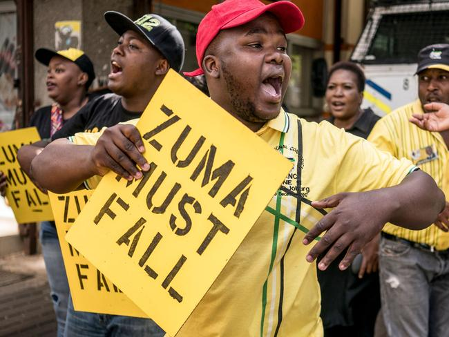 Supporters of the African National Congress Deputy President Cyril Ramaphosa stage a demonstration in protest against Mr Zuma. Picture: Marco Longari/AFP