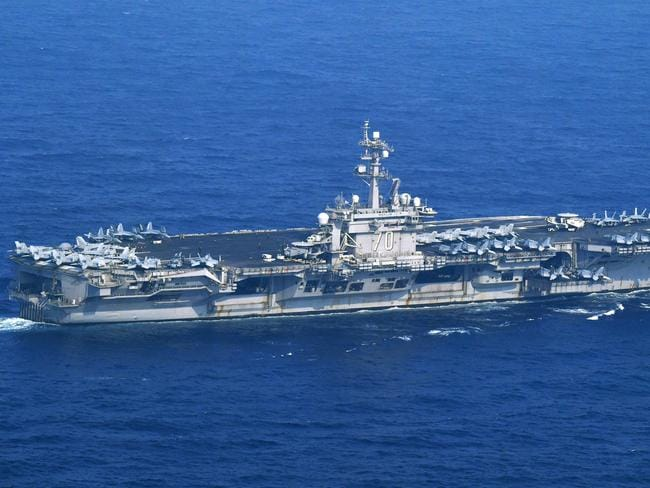 The USS Carl Vinson sails offshore Nagasaki prefecture, southern Japan. Picture: AP
