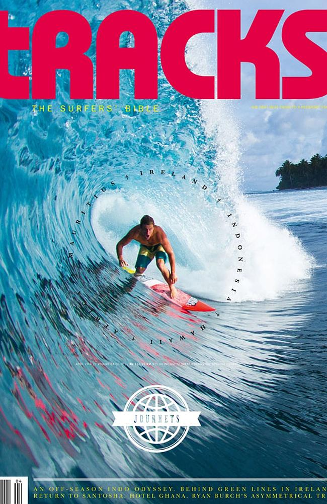 The cover of the latest issue of Tracks surf magazine.