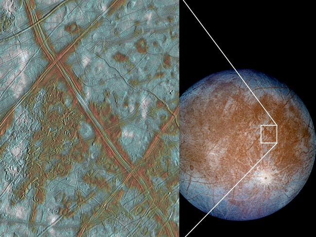 NASA image artist image projection showing a body of water under the icy surface of one of Jupiter's moons, Europa.