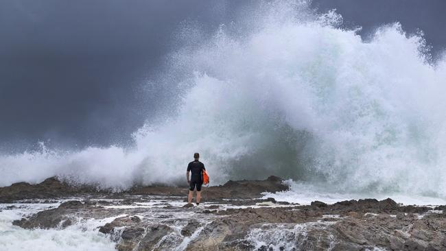 Big surf at Snapper Rocks. Picture: Luke Marsden