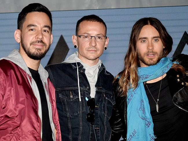 Jared Leto with Mike Shinoda and Chester Bennington of Linkin Park.