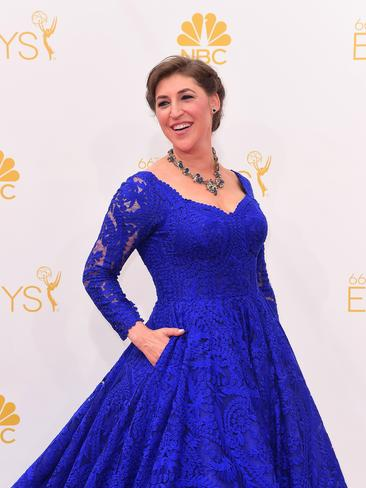 Mayim Bialik arrives on the red carpet for the 66th Emmy Awards. Picture: AFP