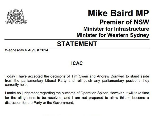Premier Mike Baird's statement. Picture: Supplied