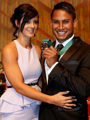 Ainslie Currie and Ben Barba after Barba won the Dally M medal in 2012. Picture: Gregg Porteous
