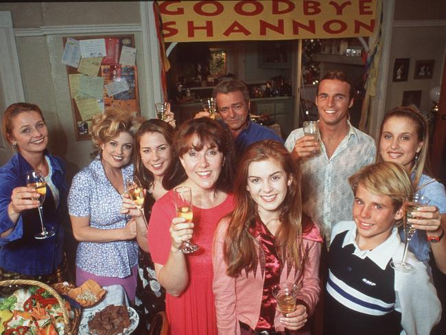 Isla Fisher and cast members, including Kate Ritchie and Tempany Deckert, at her farewell from Home and Away. Picture: Supplied