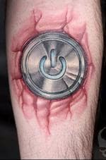 "<p><strong>Power on</strong> ... it won't take long to turn this man on - he has the Macintosh power button tattooed on the inside of his left forearm. The owner said the tattoo took almost 12 hours to complete.</p>  <p>""It looks like it's shiny metal and embedded brutally in my left forearm,"" he said.</p>  <p>Picture: Flickr user <a href=""http://flickr.com/photos/xt0ph3r/126522275/"">r3v</a></p>"