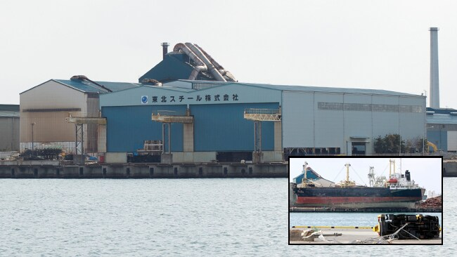 Sendai Port has reopened for business. A ship sitting on the wharf (inset) after the tsunami came through and displaced it shows the power of the waves. Picture: AP / Helen Davidson