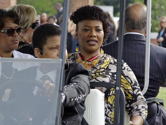 American history ... Bernice King, centre, daughter of Martin Luther King Jr, outside Wait Chapel at Wake Forest University. Picture: Chuck Burton