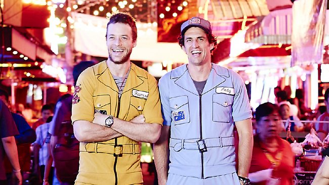 Hamish Blake and Andy Lee in Bangkok. Picture: Channel Nine