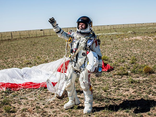 One giant leap: man skydives from space, internet goes ballistic. Image: Red Bull Stratos