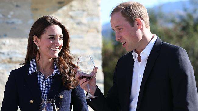 Toast of NZ ... William and Kate visited the Amisfield Winery in Queenstown yesterday. Picture: Fiona Goodall