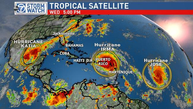 Three hurricanes are due to hit simultaneously: Hurricane Irma, Hurricane Katia and Hurricane Jose. Picture: ABC7