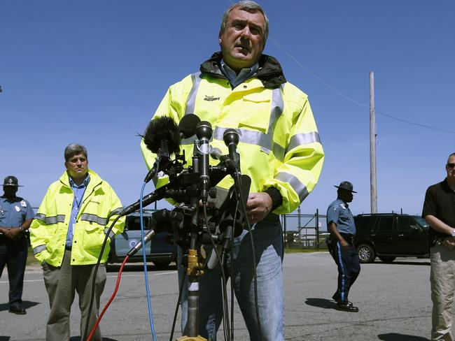 Bad news... Director of aviation for the Massachusetts Port Authority Ed Freni talks to the press at Hanscom Field. Picture: Michael Dwyer