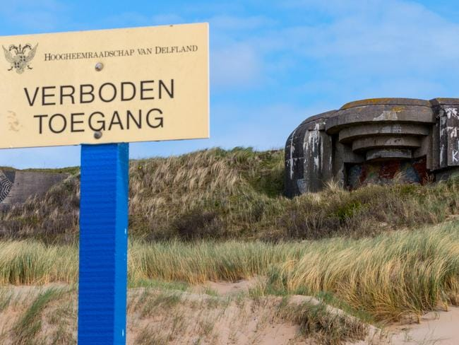 A dutch sign reads 'forbidden access' to the site. Picture: Solveig Grothe/Spiegel Online