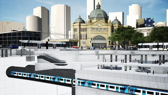 An artists' impression of Melbourne Metro station CBD South station beneath Flinders St station.