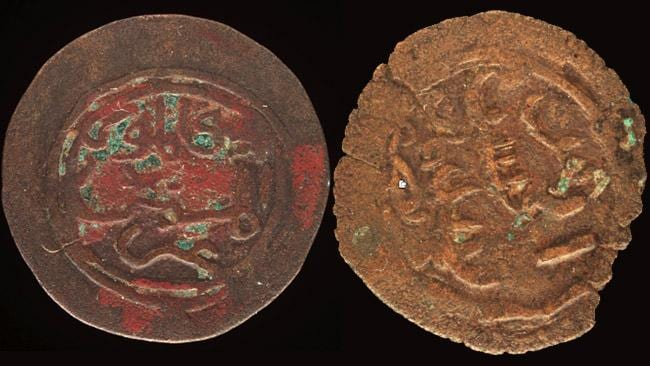 Two of the coins from the medieval African kingdom of Kilwa, said to have been found on an island off the Northern Territory.