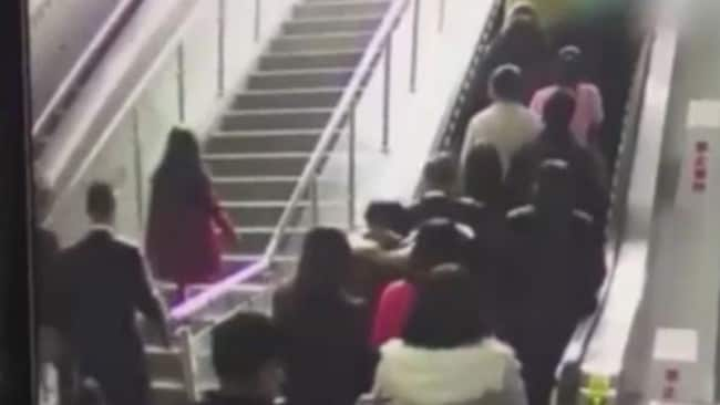 CCTV footage shows the moment the escalator reversed direction.