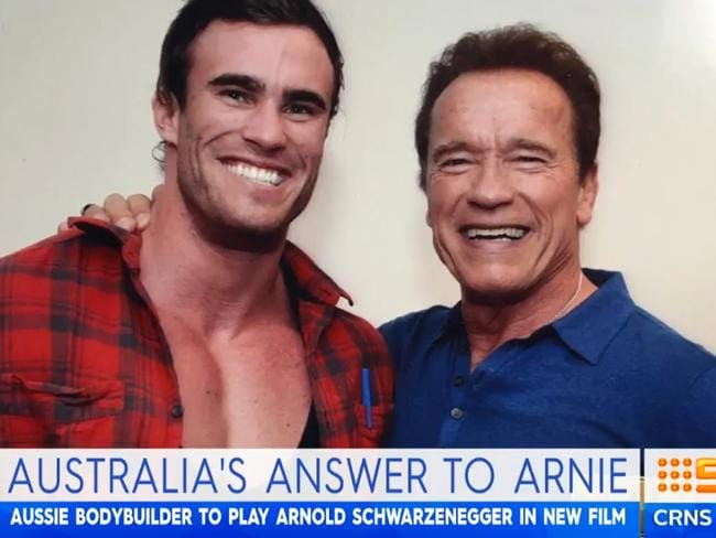 Calum Von Moger with the real Arnold Schwarzenegger. Picture: Supplied