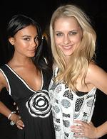 <p>Natalie Kelly and Teresa Palmer at the Sass and Bide launch of their new eyewear range at a warehouse in Alexandria, Sydney. Pic. Richard Dobson</p>