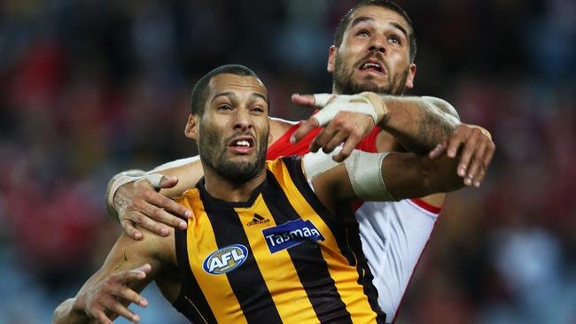 Best mates Josh Gibson and Lance Franklin set to do battle again. Picture: Phil Hillyard