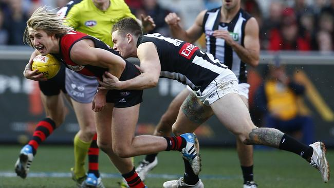Dyson Heppell broke the Brent Macaffer tag. Picture: Michael Klein