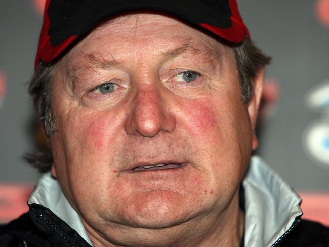 Essendon coach Kevin Sheedy at press conference to announce he will be leaving the club at the end of the season after 27 years at the helm.