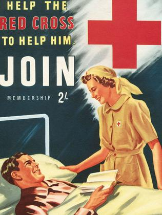 Work goes on ... a Red Cross poster in World War Two.