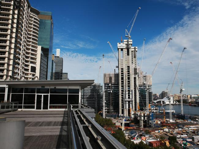 The view of Barangaroo construction site from Lend Lease building on Hickson Rd / Picture: Toby Zerna