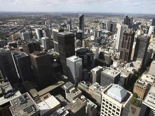 Beautiful cityscape of Melbourne, Australia. Multitude of skyscrapers. CBD, aerial.