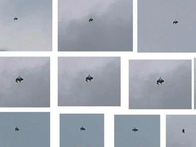 A bizarre object spotted over London ... Speculation it was a UFO. Picture: Facebook/Mixtris