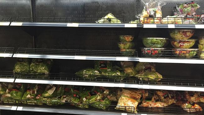 Shelves cleared out at Coles in Elizabeth Street, CBD. Picture: Ellen Smith