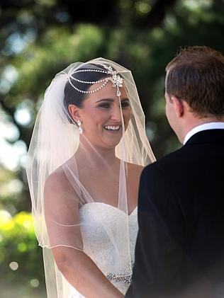 Jockey Nathan Berry and Whitney Schofield Wedding. Nathan Berry marries daughter of jockey Glyn Schofield at Miramare Gardens, Terrey Hills. Picture: Bullard Simon