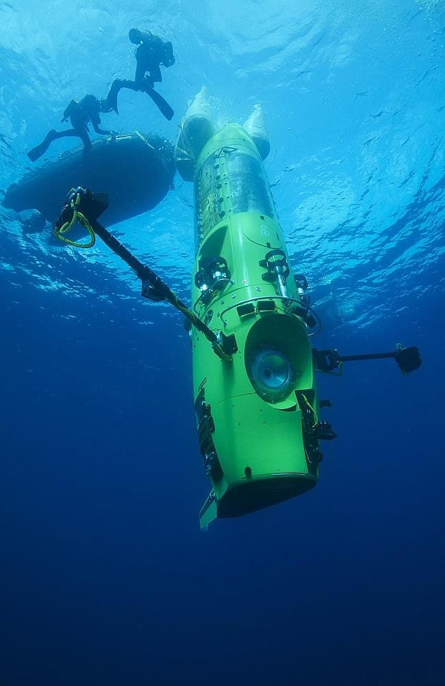 The Challenger submersible which took James Cameron seven miles beneath the surface of the ocean.