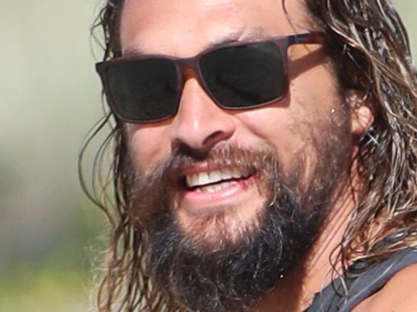** CONTACT BRISBANE BEFORE USE ** PAP Jason Momoa. Jason Momoa (pictured) star of the upcoming movie Aquaman being filmed on the Gold Coast enjoys the morning at Currumbin Alley with close friend and professional rock climber Norman Montes from Los Angeles. Picture: NIGEL HALLETT