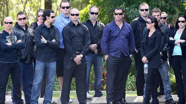 Family and friends at the funeral for murdered Bandido associate Max Waller at Integrity